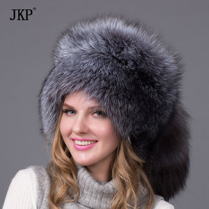 Real Fox Winter Hats For Women Winter Luxury Fur Genuine Fur Trapper fox fur tail Hat Caps Russian Style Hat Bombers HJL-03