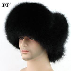 Real Men's Silver Fox Leifeng Winter Warm Hats Thick Fur Fur Fox Fur Cap Raccoon Outdoor Men's Middle Feng Lei Hats Bomber