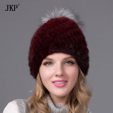 Real Mink Fur Knit Winter Hat Mink Hat Fur Fox Fur Pompons New Top Quality 2017 Hot Selling High Quality Women Hats