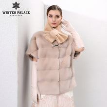 Real fur mink fur coat women fur coat fashion short fur vest Solid Down Jackets mink coat women Sleeves and hats can be removed
