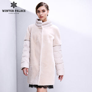 Sheep Shearling Coat.Real fur women fur coat Designer Collection sheepskin coat Women's sheepskin coat winter Wool Coat Double-faced Fur