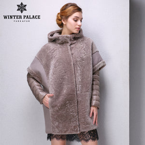 Sheep Shearling Coat.Real fur women fur coats Designer Collection winter down coat sheepskin coat  Sheep Shearing Coat Hooded