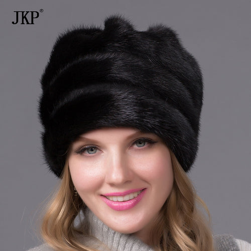 Real mink fur hat for women winter full fur hat with flower top 2017 new arrival good quality multicolor female luxury DHY-45