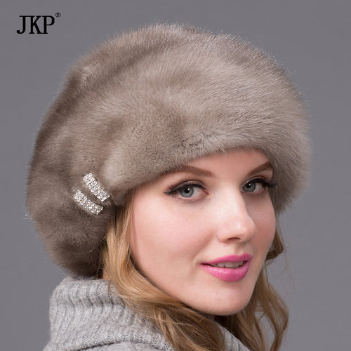 Real mink fur hats for winter women fur cap with diamond Brown mink Beanies mink fur beret Russia good quality fur hat dhy-53