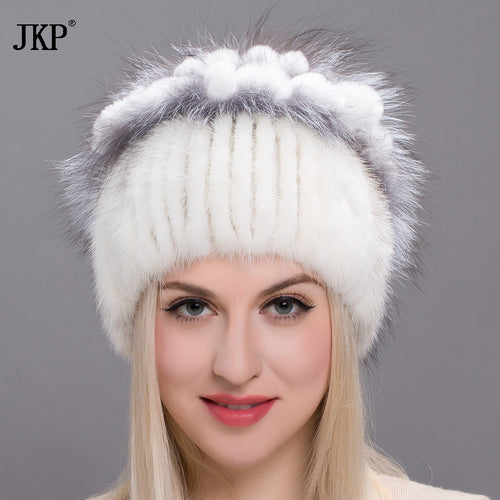 Real mink fur hats for women winter fur hat with rex rabbit fur flowers top 2017 Russia fashion brand fur cap knit beaniesDHY-20