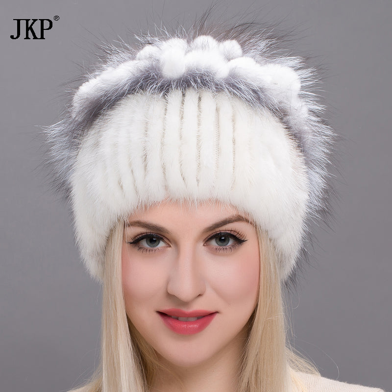 98f6f86e09f ... Real mink fur hats for women winter fur hat with rex rabbit fur flowers  top 2017 ...