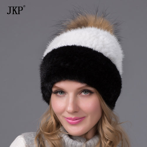 Russia winter hats for women genuine mink fur hat with whole silver fox fur top 2017 fashion elegant beanies high-end femalBZ-06