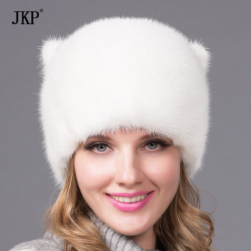 Russian Real Natural mink fur hat for women winter cap Orecchiette cute white and mink tail beanies hat DHY-54