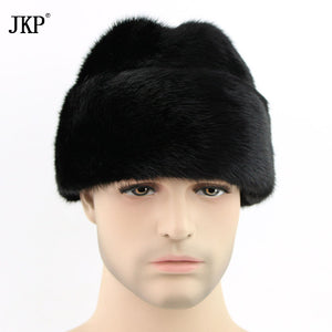 Russian man 100% Real Mink Fur Winter Cold Man Warm Mink Fur Outside Cap Knight Fur Hat President's Tops ZD-04