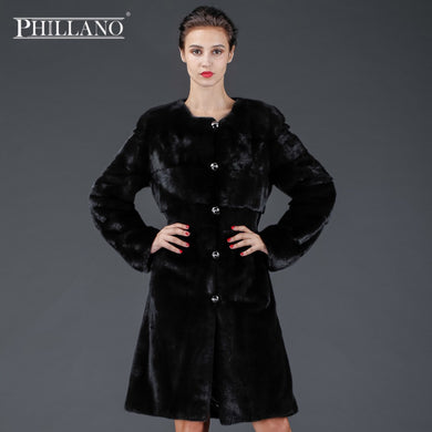 SALE 2017 Phillano Premium Women Elegant Chic Real Fur Coat Thick Winter Chothing Mink Scandinavia Denmark NAFA YG14056-100