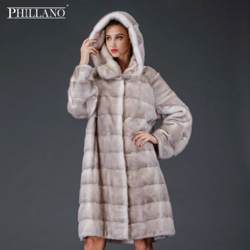 SALE Phillano 2017  Winter Russian Women's Real natural hooded mink fur coat with Big Hood Mink Fur Coat YG12263-100