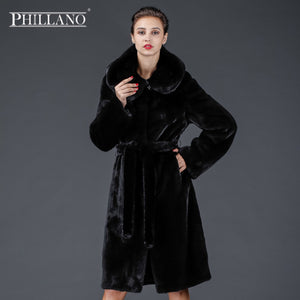 SALE Phillano Special Women Genuine Mink Fur Coat Hooded Full Sleeve Black Color Natural Mink Fur Luxury Ladies Long Fur Coats
