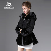 SISILIA 2016 New Arrival Winter Women's Mink Fur Coats Full Pelt With Karakul Sheep Fur Long Style100% Natural Real Fur