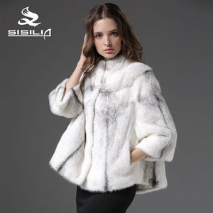 SISILIA 2016  New Arrival Women's Cross Mink Fur Coat Natural Fur Jacket sable fur coat vrai fourrure vison tricotado