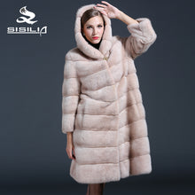 SISILIA 2016 New Style Ladies'  Mink Coats Genuine Leather Light Pink Good Quality Mink Fur Coat Women Natural Coats Of Mink Fur