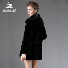 SISILIA 2016 New Winter Women's Warm Denmark Full Pelt Mink Fur Long Style Black Color Outwear Coats 100% Real Natural Fur