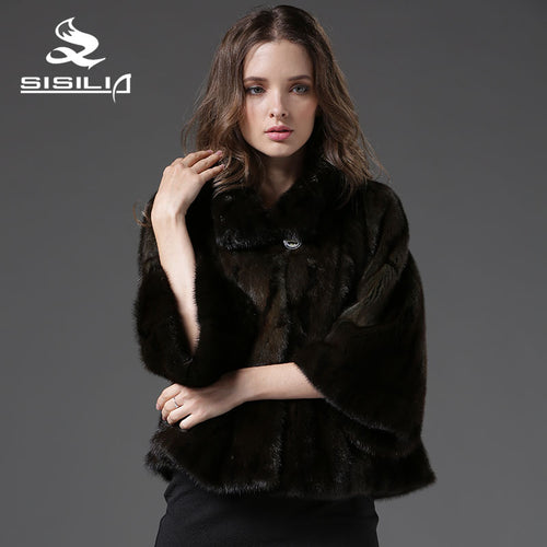 SISILIA  2016 New Women's Mink Fur Jacket Short Style Female Mink Bolero From Natural Fur