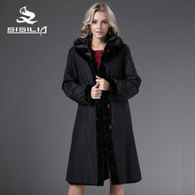 SISILIA 2016 Winter Women's   Dyed China Mink Full Pelt Fur With Mink Fur Collar Coats Both wearing Long Style 100% Real Fur