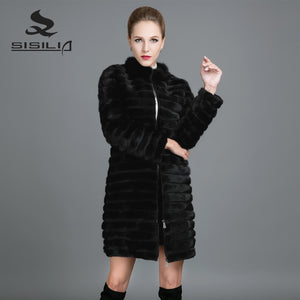 SISILIA 2017 Fashion Mink Fur Coats Women Winter Genuine Leather Fur Coats High Quality Mink  Fur Stripe Warm Jackets Female