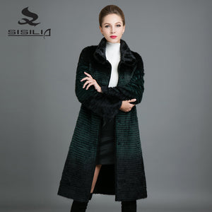 SISILIA 2017 New Real Mink Fur Coats Womens  Fashion Long Mink Jackets Warm Long High Quality Good Mink Fur Coats Female