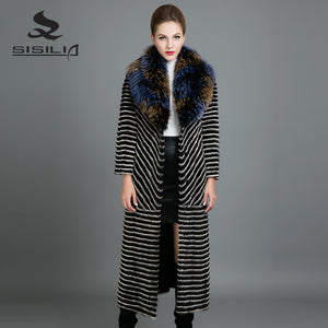 SISILIA 2017 New Real Mink Fur Coats Womens  Fashion Long Mink Jackets With Warm Fox Fur High Quality Good Mink Fur Coats Female