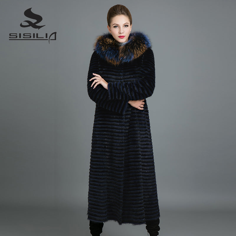 SISILIA 2017 New Real Mink Fur Coats Womens  Fashion Mink Jackets With Warm Fox Fur Long High Quality Good Mink Fur Coats Female