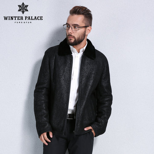 Sheep Shearling Coat. Suit collar men fur coat fur overcoat men Winter warmth sheepskin coats men High-grade male fur coat