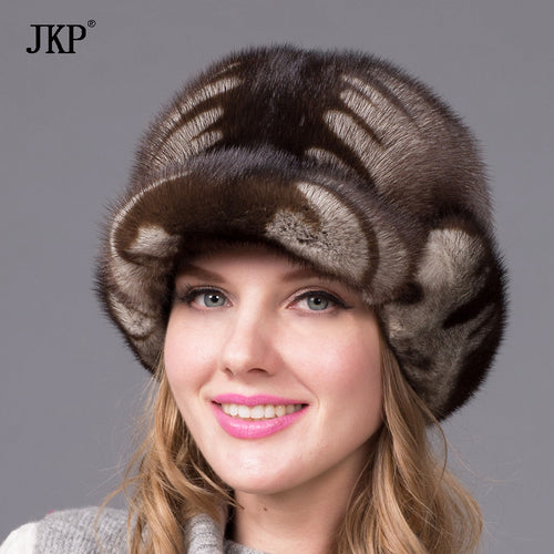 Simple whole winter mink mink fur hat warm hat elegant European and American fashion female Shibei Lei hatDHY-44
