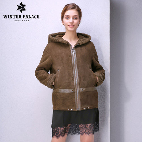 Sheep Shearling Coat. Simple women fur coat Fashion Slim Fur women winter Sheep Shearing Coat sheepskin coats.