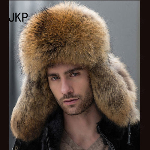 Star Fur 2017 Genuine Silver Fox Fur Hats Men Real Raccoon Fur Lei Feng Cap for Russian Men Bomber Hats with Leather Tops 1002