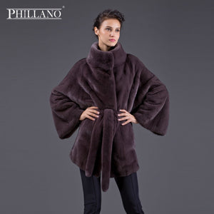 TOP PHILLANO 2017 Winter Women Real Fur Mink Coat Bat Sleeve Collar Thick Warm Chothing Scandinavia Denmark NAFA YG14044-75