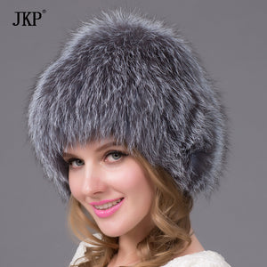 The best new natural natural knitted fox fur hat winter silver fox good gift retail authentic mink fur cap