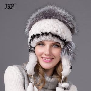 The new Rex fur grass Ms. autumn and winter warm hat ear cap fox fur ball THY-11