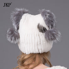 The new Rex rabbit knitting caps children warm thick fur fox fur hat female headerTHY-29