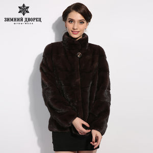 WINTER PALACE 2017 New fashion mink fur coat natural fur coat classical mink coat slim thin section influx of female mink coat