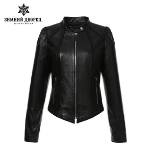 WINTER PALACE 2017 fashion Best selling leather jacket,Short,Sheepskin,Casual,black,Leather jacket women