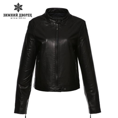 WINTER PALACE 2017 fashion classic style leather jacket,Short,Sheepskin,Casual,black,Leather jacket women