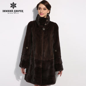 WINTER PALACE New style fashion fur coat,Genuine Leather,Mandarin Collar,good quality mink fur coat, women natural  coats of fur