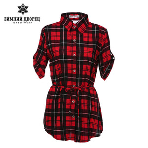 WINTER PALACE Summer fashion women blouses  Cotton Scottish style blouse women Plaid pattern women tops