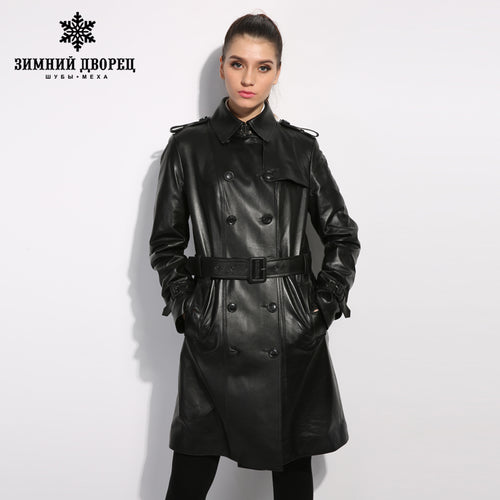 WINTER PALACE leather jacket and long sections women 2017 winter new large size women slim thin thick  Women's sheepskin coat