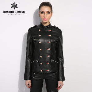 WINTER PALACE short paragraph long sleeve leather jacket women slim thin black sheepskin leather motorcycle jacket