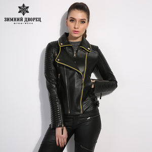 WINTER PALACE single spring and autumn leather jacket women short slim motorcycle leather jacket sheepskin coat