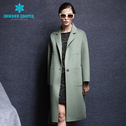 Cashmere Coat. WINTER PALACE spring and autumn fashion women cashmere coat real cashmere overcoat Turn - Down collar slim Style wool coat