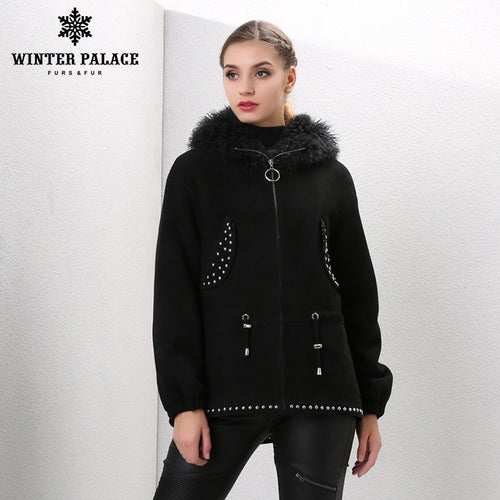 Sheep Shearling Coat. Fashion women Brown sheepskin coats Medium fur coats women Bring  hat real fur coat Lamb fur coats double-sided