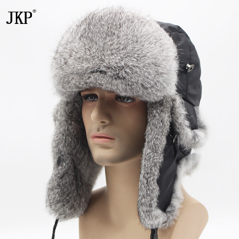 ... Winter Hat For Men Women Real Rabbit Fur Cap Ear Warm Winter Ski Cap  Bomber Unisex ... da907efcb