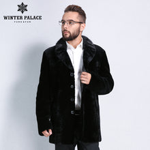 Sheep Shearling Coat. Winter Men black leather mouton fur coat Turn-down Collar fur coat Imported high-grade sheepskin coats Mature man symbol real