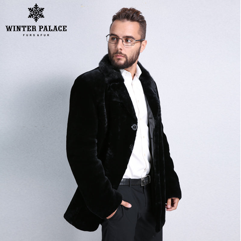 839e58f1e80e0 Sheep Shearling Coat. Winter Men black leather mouton fur coat Turn ...