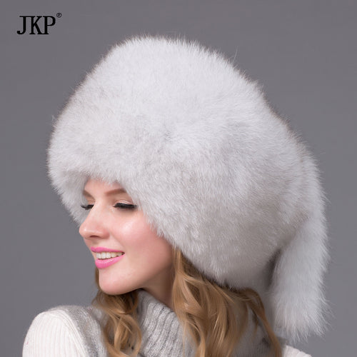 Winter Women Fur Cap Real Fox Fur Hats Headgear Russian Girls Raccoon Fur Beanies Cap 2017 New Fashion Fur Hat  HJL-01