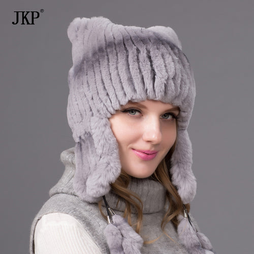 Winter Women Hats Real Rex Rabbit Fur Hat Ear Protector Caps with Fur Flower Ball Pom Poms Female Knitted Bomber Fur Hat THY-04