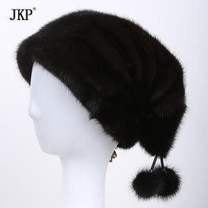 Winter explosion models simple whole mink mink fur hat knitted hat elegant European and American fashion ladies ear cap DHY-46